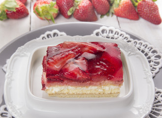 strawberry cake with cream and jelly