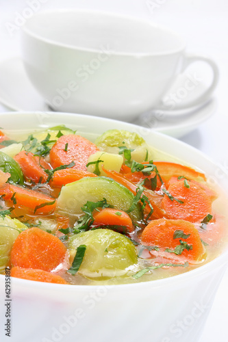 Delicious soup with fresh vegetables