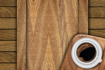 Background made of planks and cup coffee