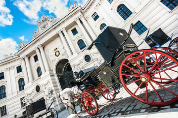 Fiaker carriages at Hofburg Palace in Vienna, Austria
