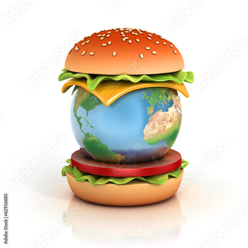 earth hamburger 3d illustration