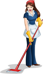 Woman Cleaning With Mop For Passover