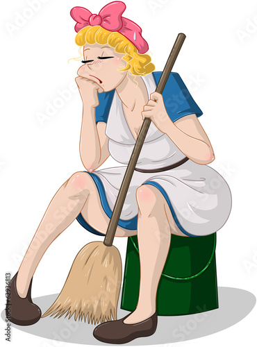Tired Woman With Broom Sitting On Bucket