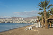 Sandy beach of Eilat - famous resort city in Israel