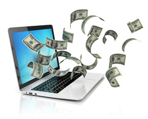 making money online - dollars and laptop