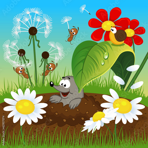 mole in the ground and insects  - vector illustration