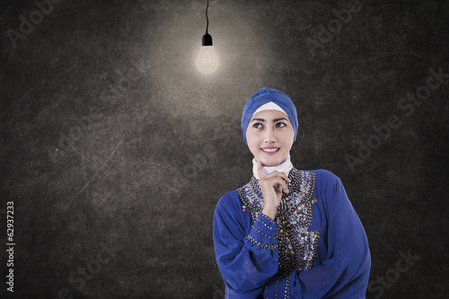 Asian female muslim under lit bulb in class