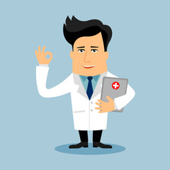 Doctor pharmacist flat cartoon character