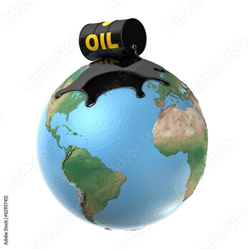 oil spill over planet earth 3d illustration