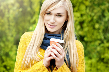Beautiful blond woman- outdoor spring  portrait