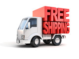 Fototapety delivery van with free shipping letters on back