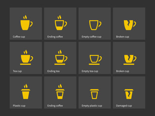 Coffee mug duotone icons.