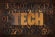 tech word in wood type