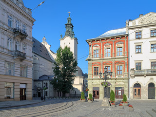 The corner of Market Square and view of Latin Cathedral in Lviv