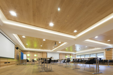 wooden architecture of modern conference room with chairs