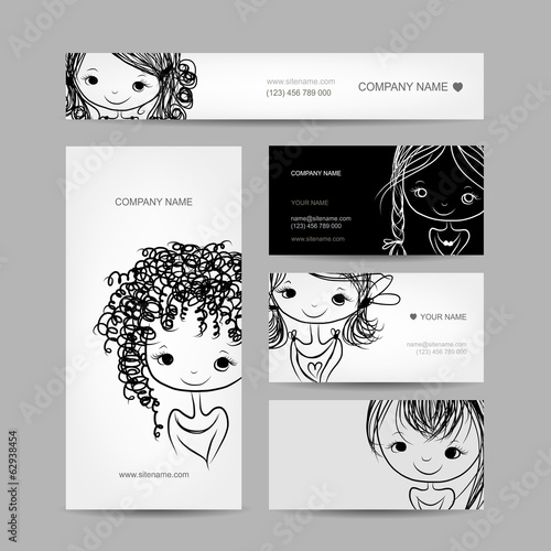 Cute girl smiling, set of business cards your design