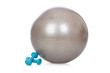 Grey ball and blue dumbbells for fitness