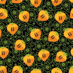Seamless pattern of persimmon in Heart and Paisley ornament