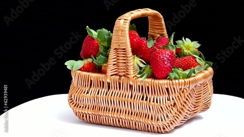 Fresh red strawberries in a basket