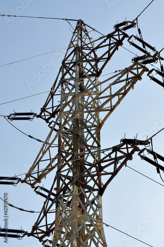 mast and high voltage power lines