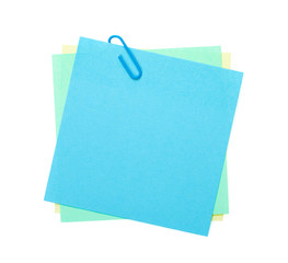 Colorful post-it notes with clip