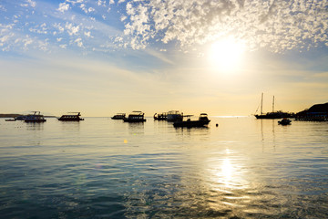 Sunrise at Naama Bay, Red Sea and motor yachts, Sharm el Sheikh,