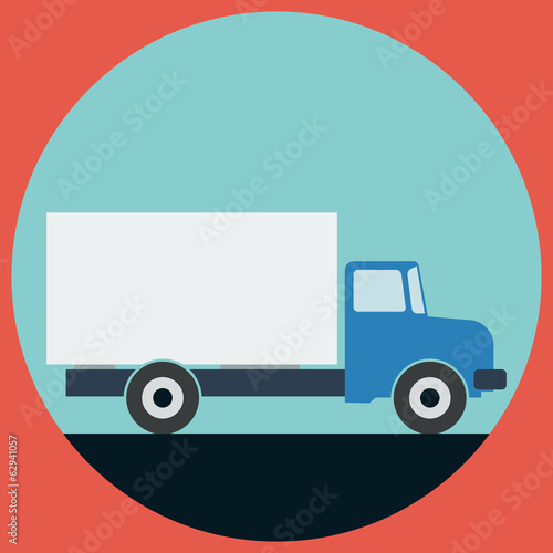 Truck flat vector illustration