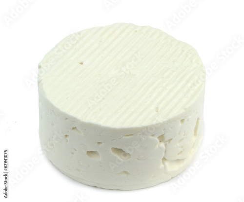 White cheese isolated on white background.