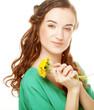 woman with dandelion bouquet