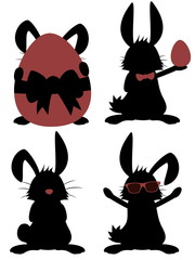 Big Bunny Collection - Silhouettes of funny male rabbit mascots