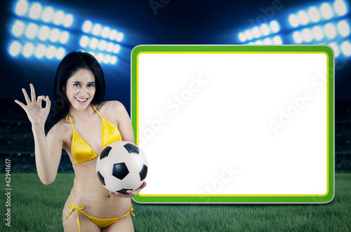 Erotic soccerfans with copyspace