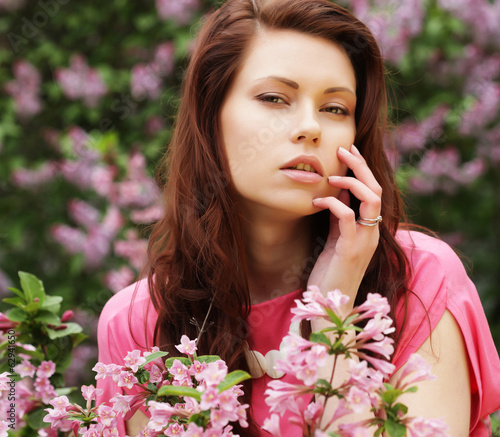 woman in spring flowers