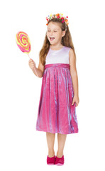 little girl and candy on stick, kid sweet dress