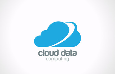 Cloud computing vector logo design. Global internet network