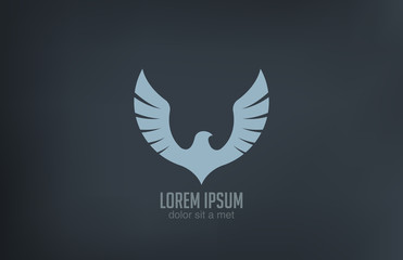 Bird wings abstract vector logo design. Luxury emblem icon