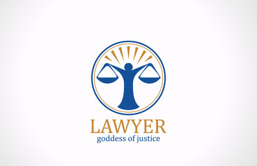 Lawyer symbol Scales vector logo design. Legal icon
