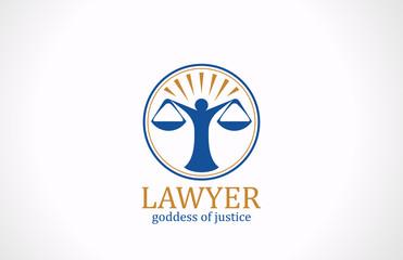 Lawyer symbol Scales vector logo design. Legal icon
