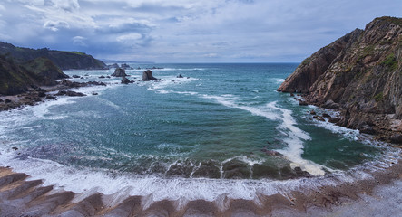 Wild beach located in Cudillero.Asturias,Spain.