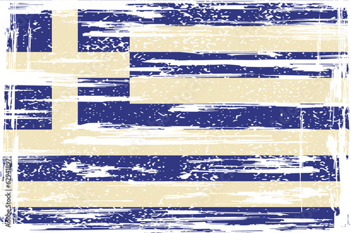 Greek grunge flag. Vector illustration