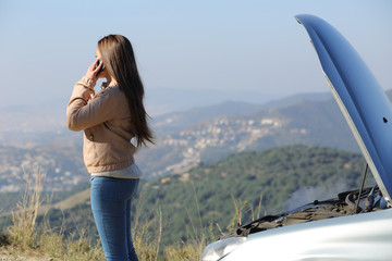 Woman on the phone beside her crashed breakdown car