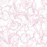 Seamless retro pattern with orchid