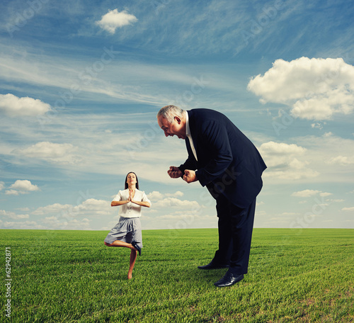 aggressive man and meditation woman