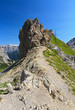 Dolomiti - peak with war ruins in Contrin valley