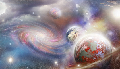 planets and spiral galaxy