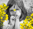 happy little girl with colza flower