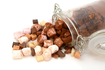 Marshmallows, fudge, chocolate, fudge and cocoa
