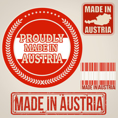 Made in Austria stamp and labels