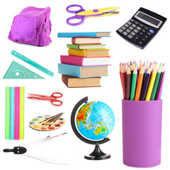 Collage of school supplies isolated on white