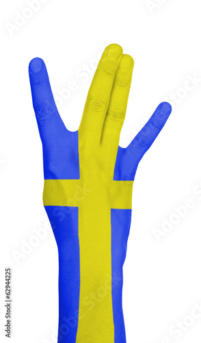 Flag of Sweden painted on hand