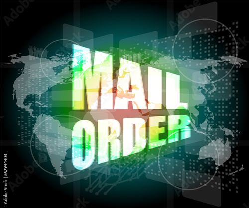 mail order words on digital screen background with world map